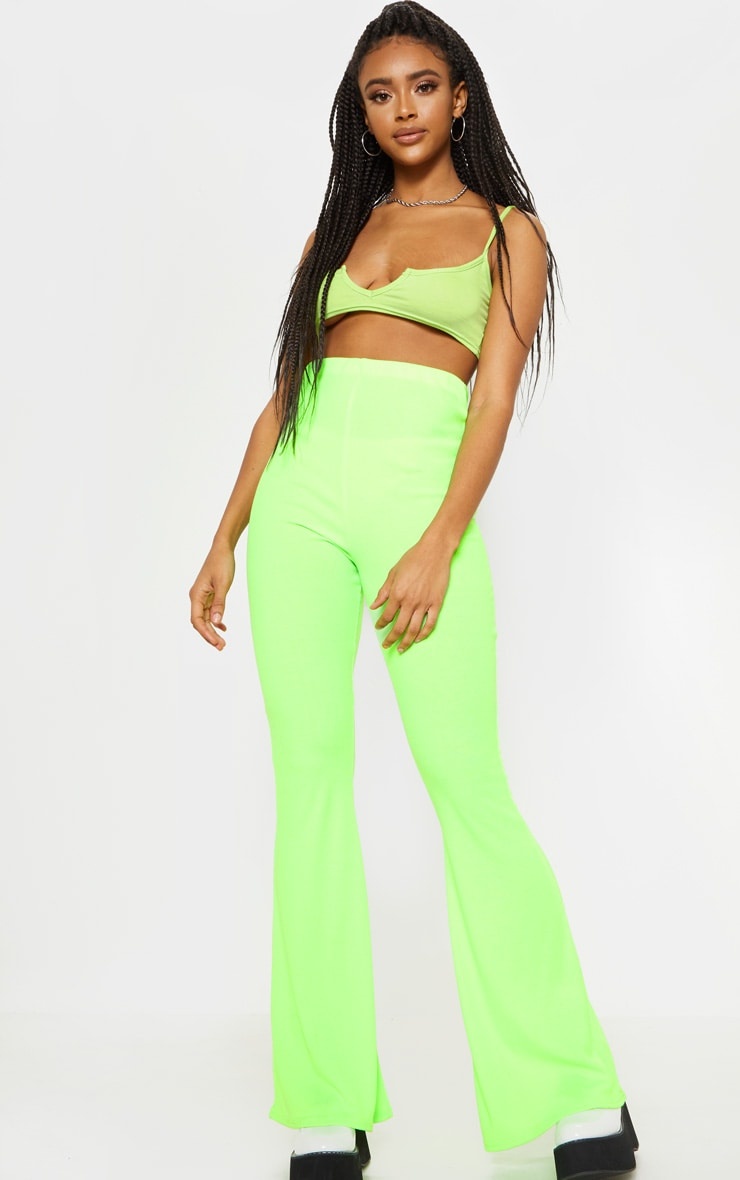 Neon Lime Ribbed Flared Trouser  1
