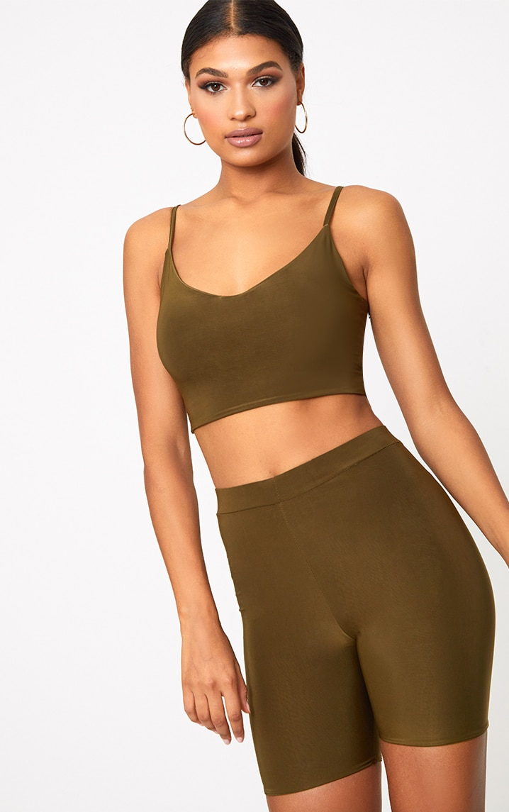 Bella Khaki Slinky High Waisted Bike Shorts 1