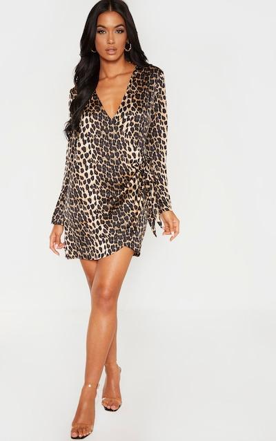 Tan Leopard Tie Side Satin Shirt Dress