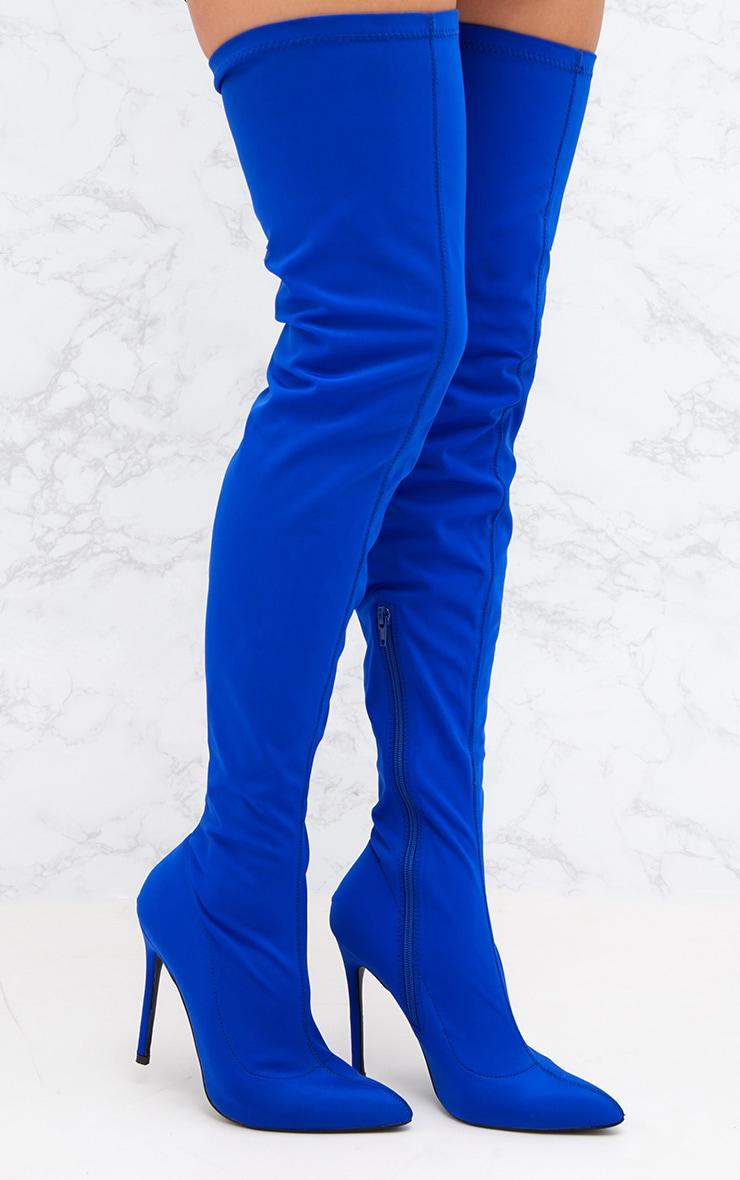 Cobalt Lycra Thigh High Pointed Sock Boot 1