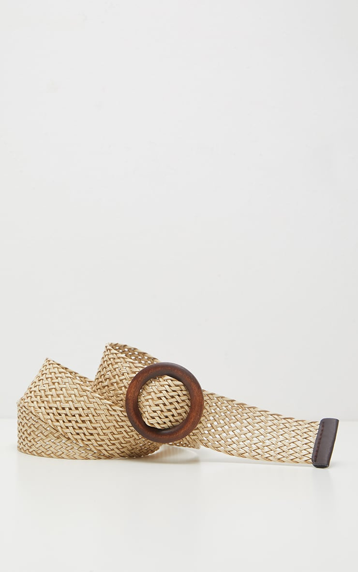 Tan Wooden Buckle Woven Belt 3