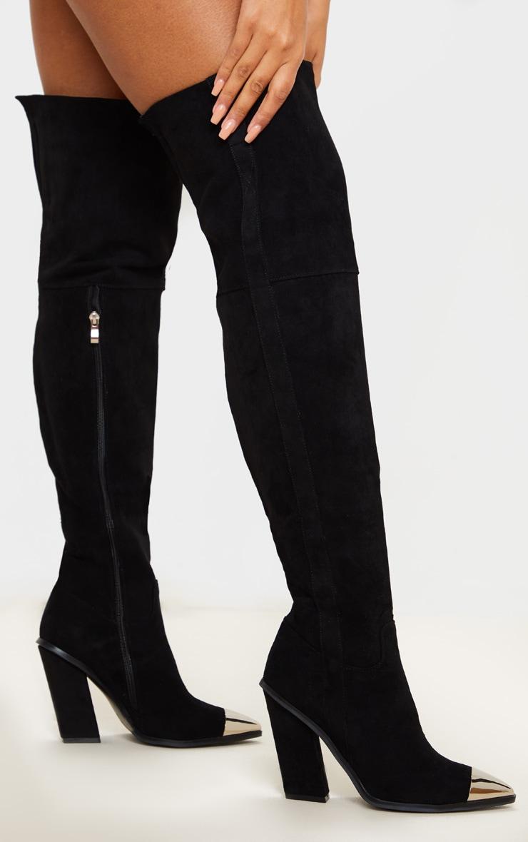 Black Metal Toe Thigh Boot 1