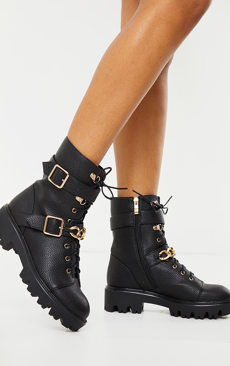 Black Buckle Chain Trim Lace Up Hiker Boot 2