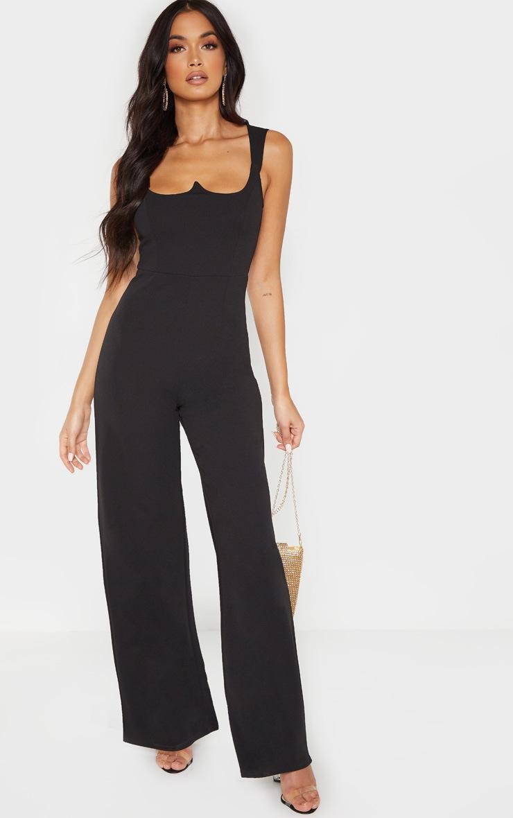 Black Structured Bodice Wide Leg Jumpsuit 4