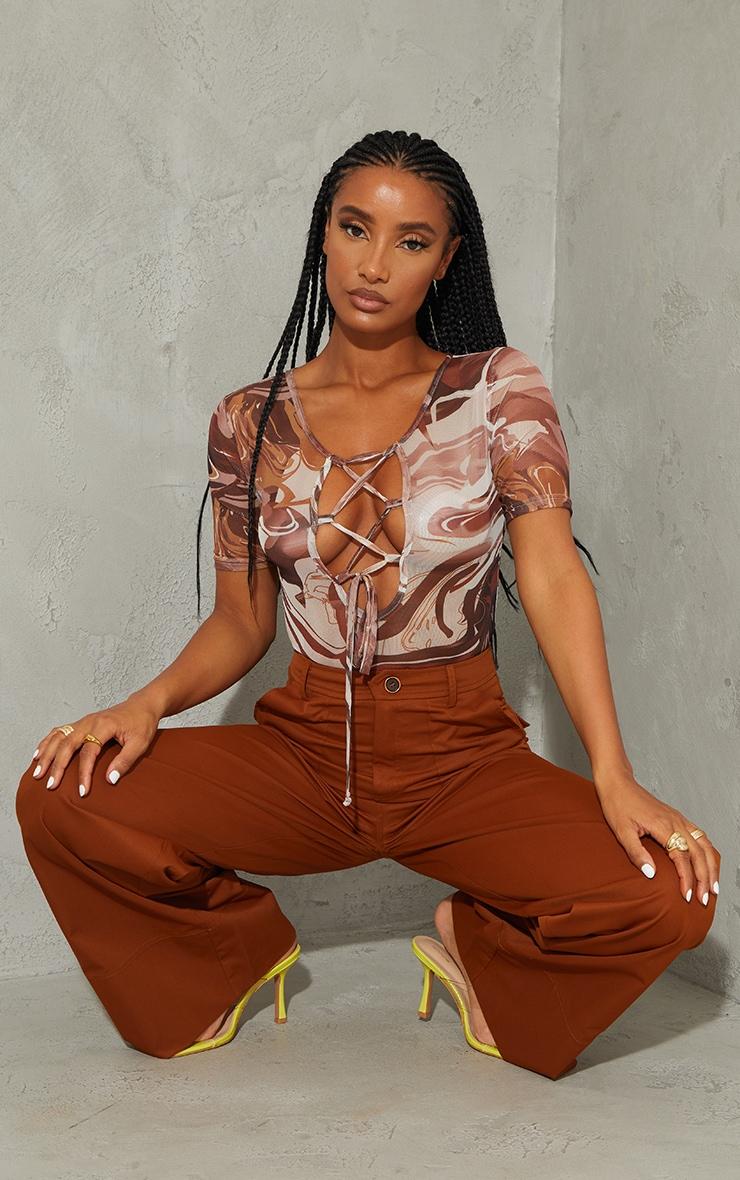 Brown Marble Print Mesh Cross Front Short Sleeve Bodysuit 1
