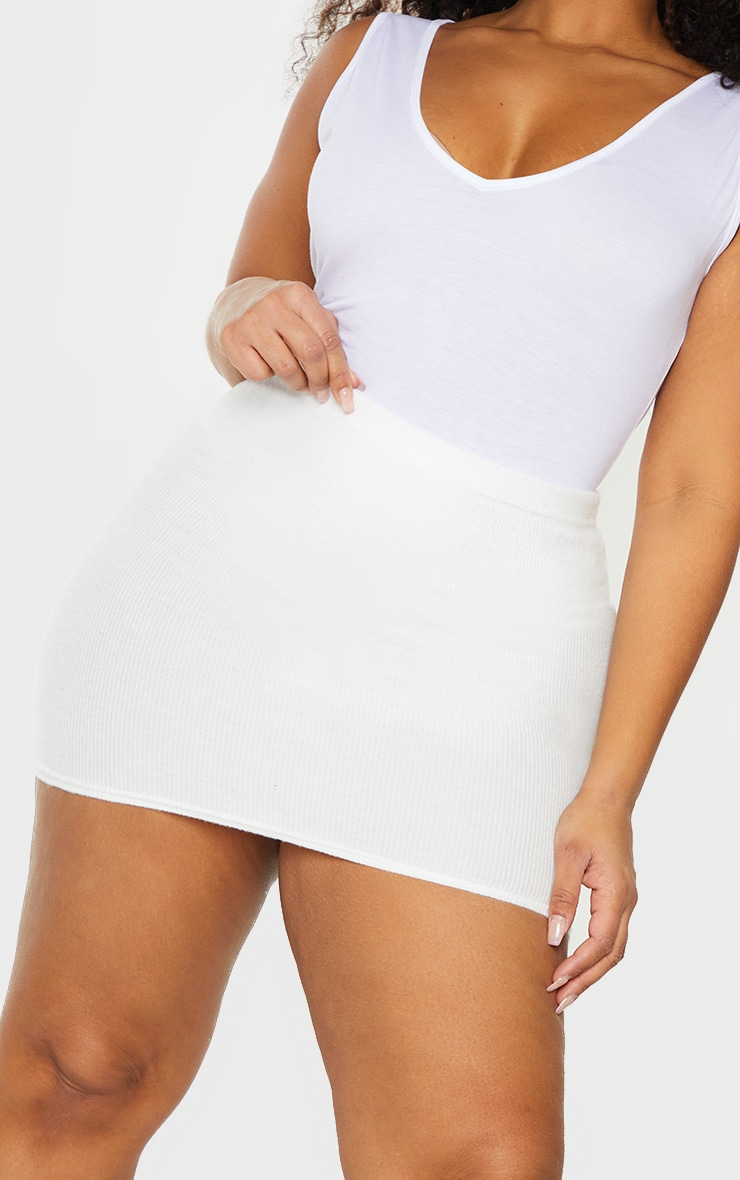 Cream Soft Brushed Rib Mini Skirt 5