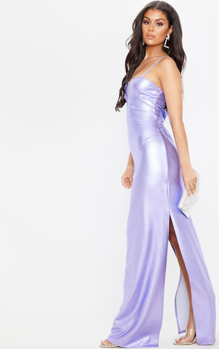 Lilac Metallic Strappy Maxi Dress 4