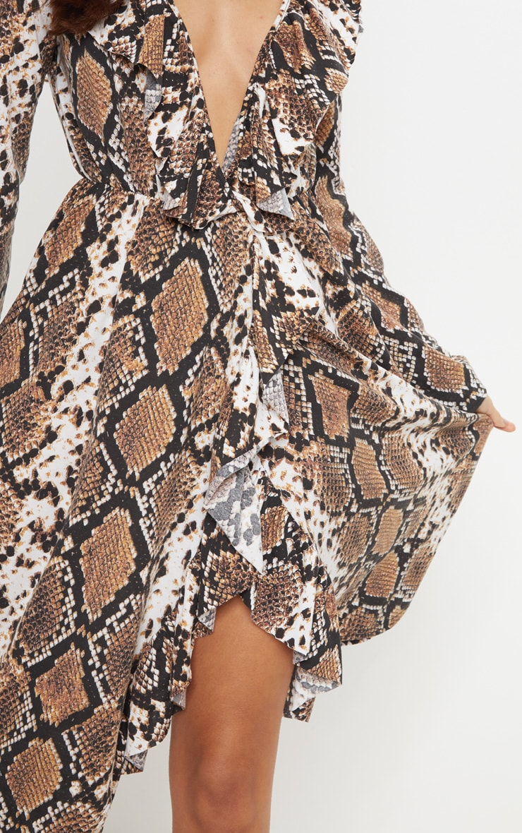 Brown Snake Print Wrap Front Frill Midi Dress 5
