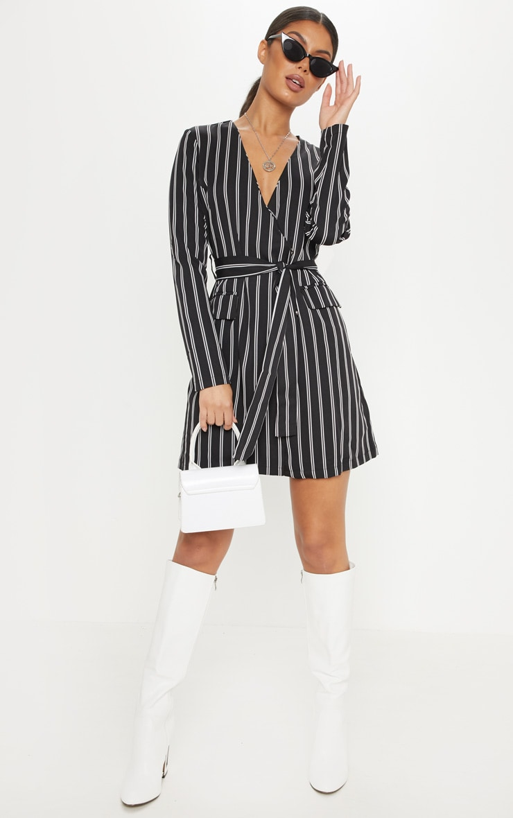 Black Belted Stripe Blazer Dress