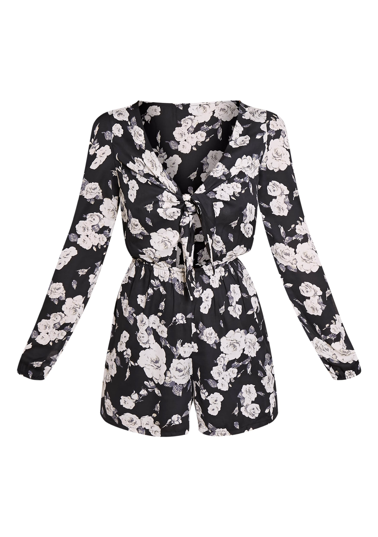 Lima Black Tie Front Floral Print Playsuit 3