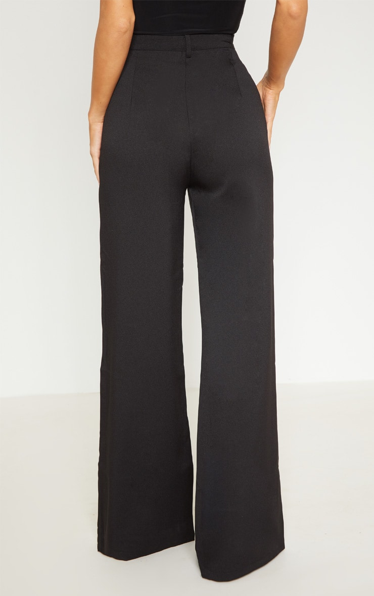 Reemah Black Wide Leg Crepe Pants 4