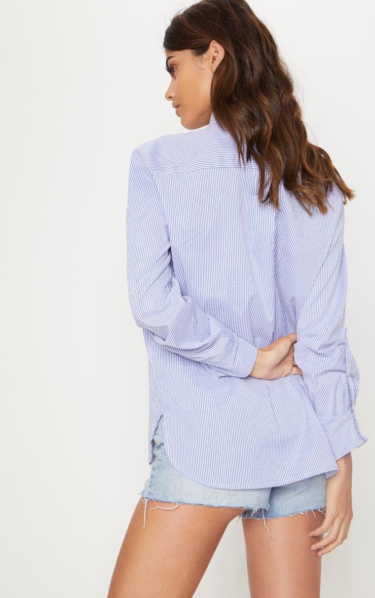 Blue Pocket Front Stripe Shirt 2