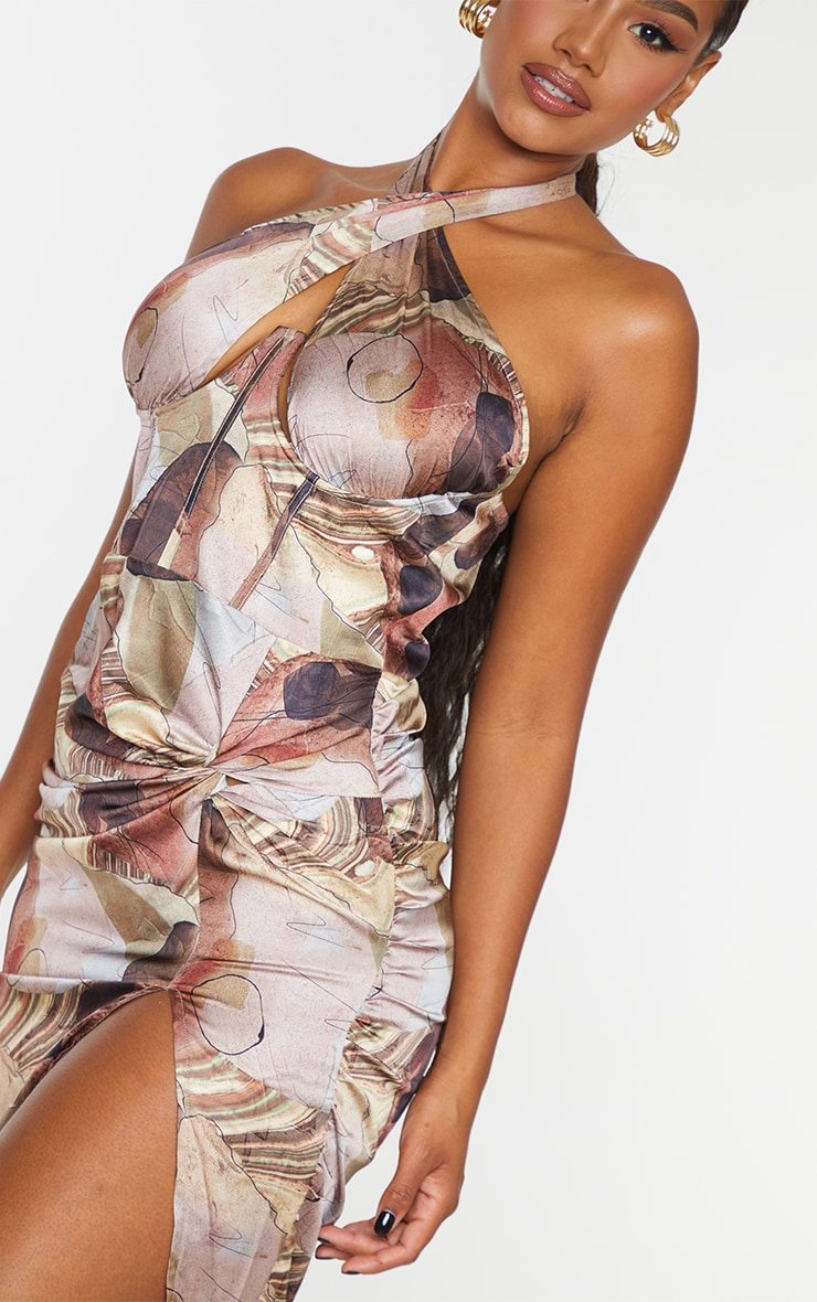 Multi Abstract Print Halterneck Underbust Detail Ruched Midi Dress 4