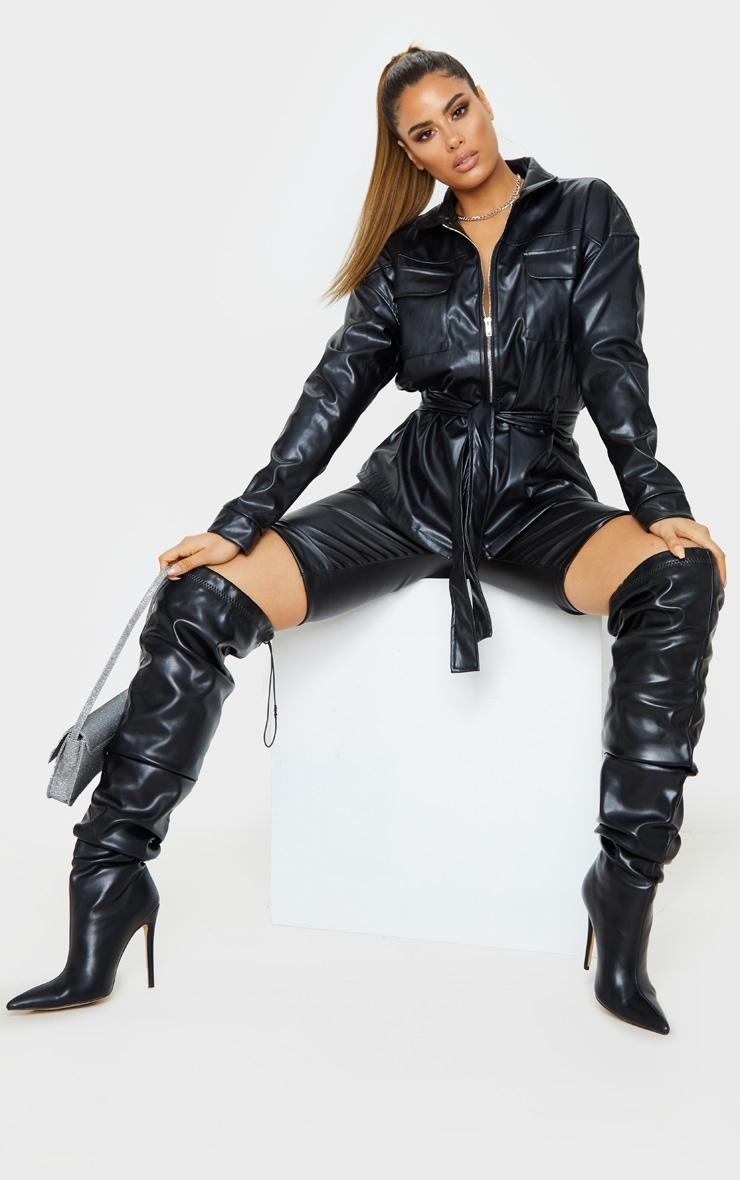 Tall Black Faux Leather Belt Detail Jacket 4