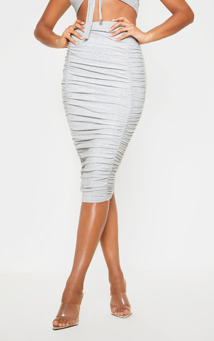 Silver Ruched Front Textured Glitter Midi Skirt 2