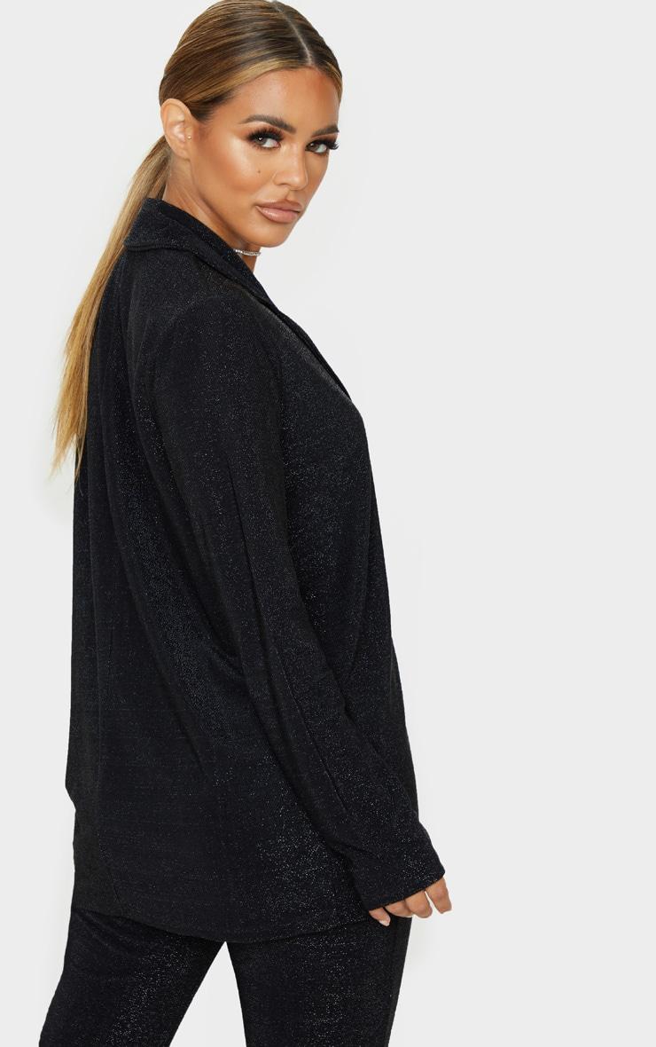 Petite Black Textured Glitter Blazer 2
