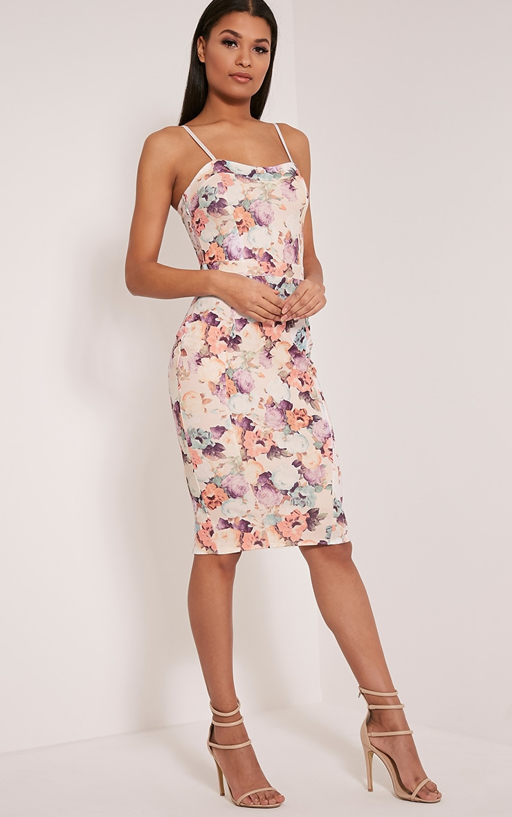 Dinah White Floral Print Strappy Midi Dress 5