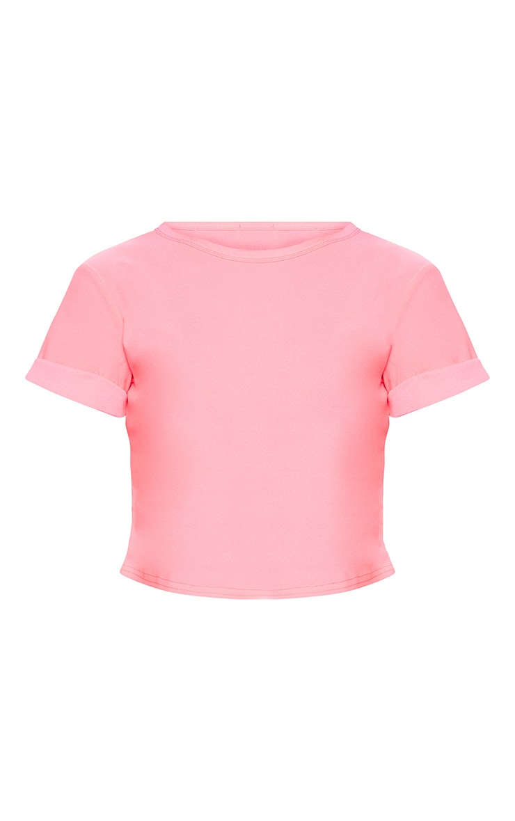 Basic Neon Pink Roll Sleeve Crop T Shirt 3
