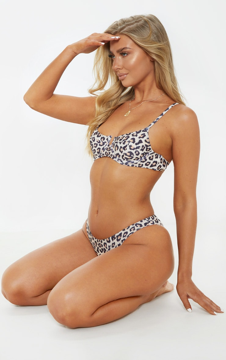 Leopard Underwired Balconette Bikini Top 4