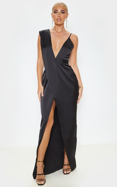 Black Asymmetric Drape Detail Maxi Dress