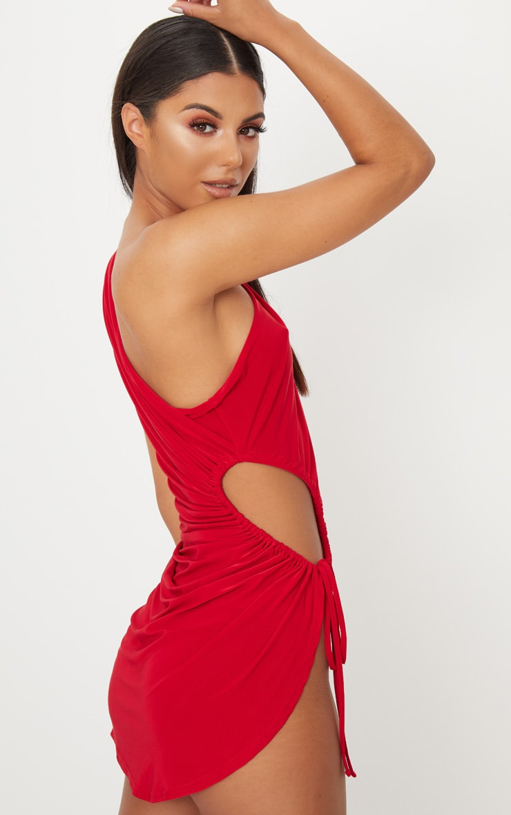 Red Slinky Ruched Side Cut Out Bodycon Dress 2