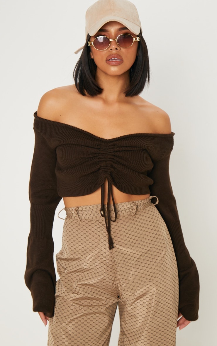 Chocolate Ruched Knit Extreme Sleeve Crop Jumper 1