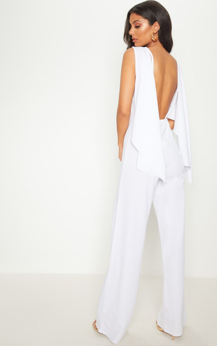 White Crepe Cape Low Back  Detail Jumpsuit  1