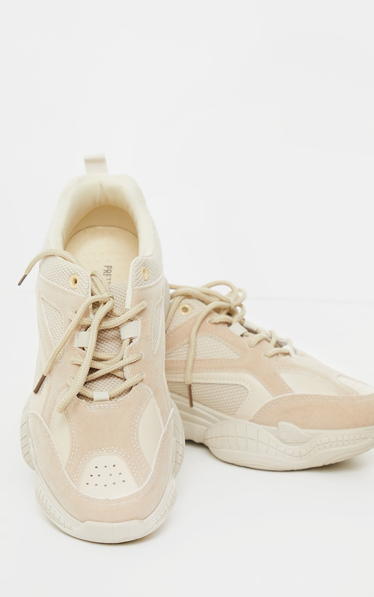 Sand Bubble Sole Mesh And Faux Suede Trainers 3