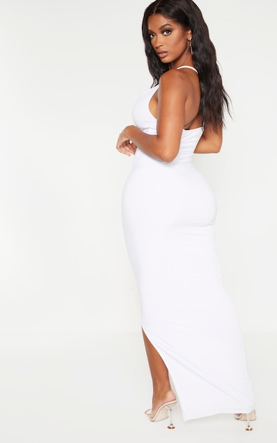 Shape White Slinky Cowl Neck Maxi Dress