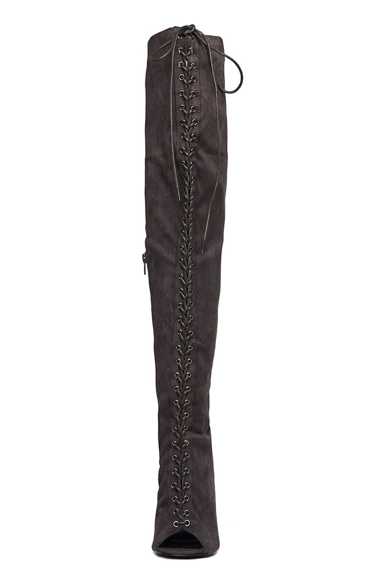 Valentina Grey Suede Lace Up Thigh Boots 6