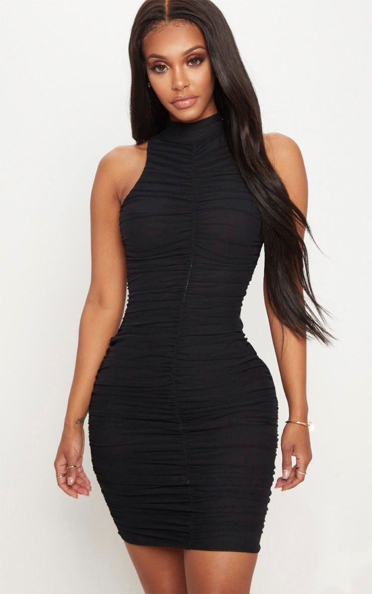 Shape Black Mesh High Neck Ruched Bodycon Dress 1