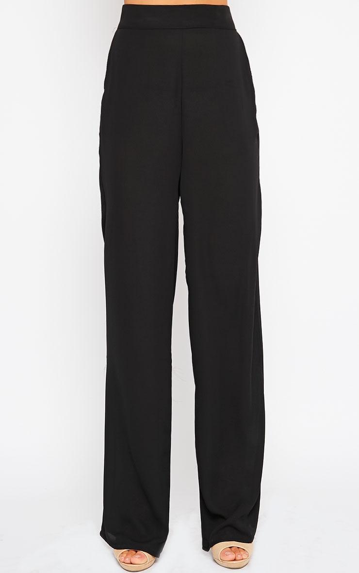 Theadora Black Chiffon Wide Leg Trousers 2