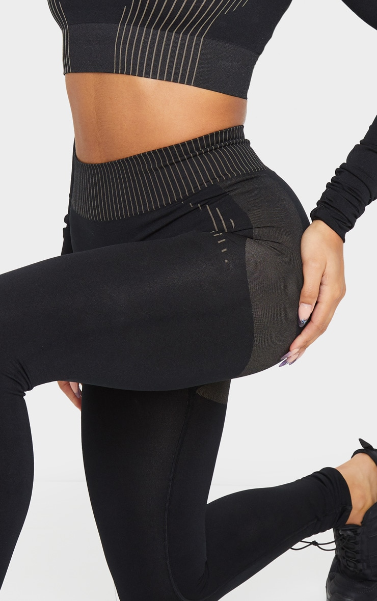 PRETTYLITTLETHING Black Contour Seamless Legging 4