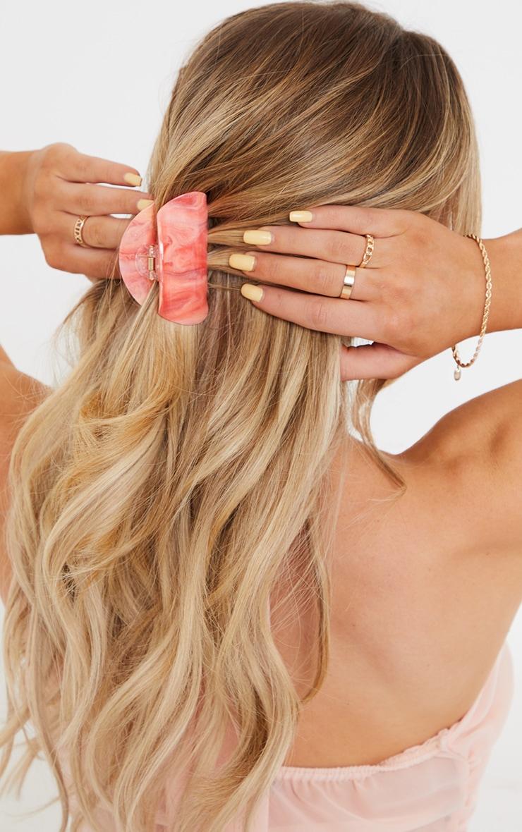 Pince à cheveux arrondie rose marbrée 1