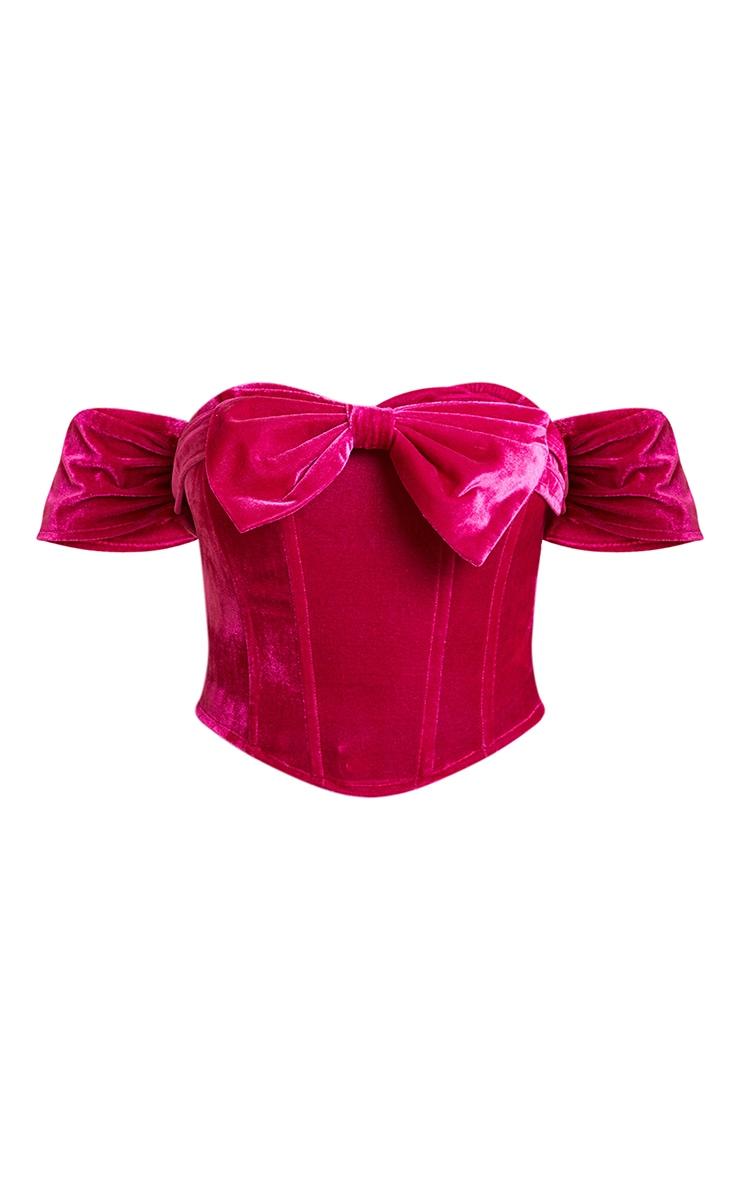 Petite Fuchsia Velvet Bow Detail Corset 5