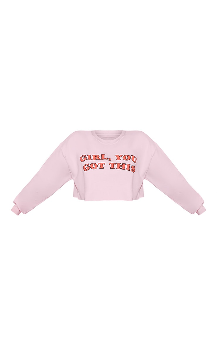 Girl, YOU GOT THIS Cropped Sweater Baby Pink 3