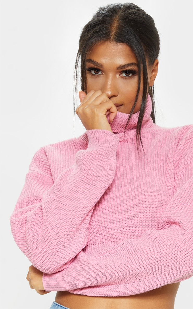 Pink Super Cropped High Neck Knitted Jumper  5