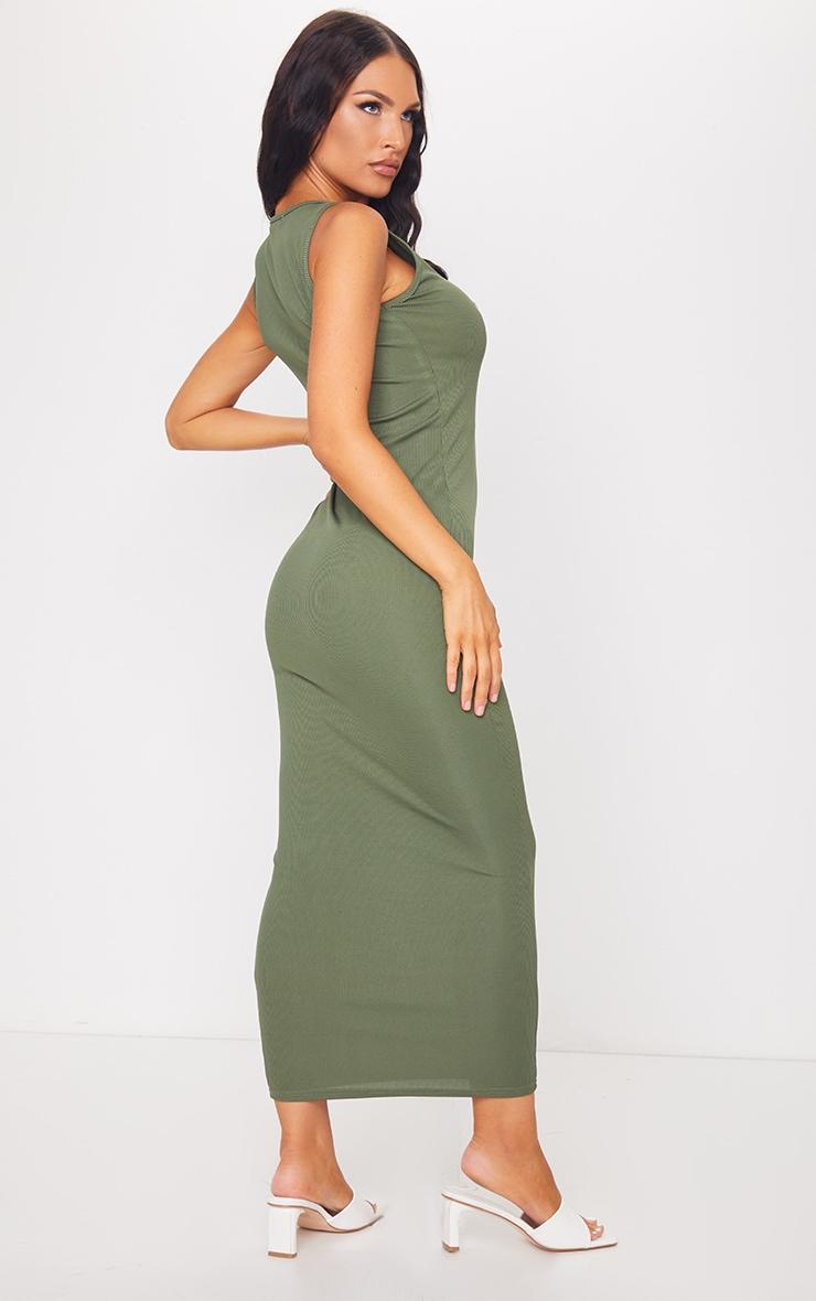 Khaki Basic Rib Maxi Dress 2