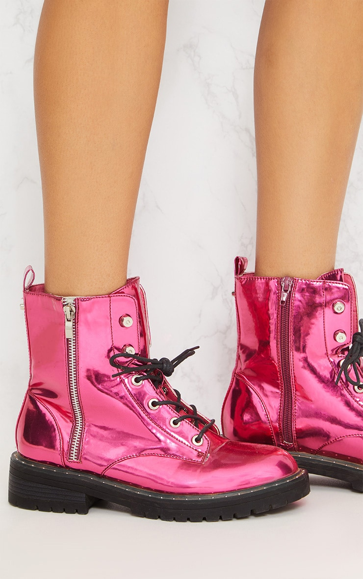 Pink Metallic Chunky Lace Up Boot 6