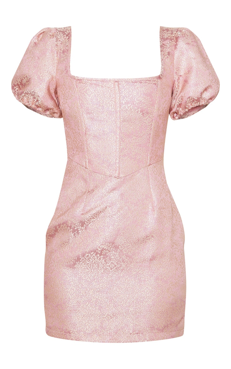 Pink Jacquard Short Sleeve Square Neck Bodycon Dress 3