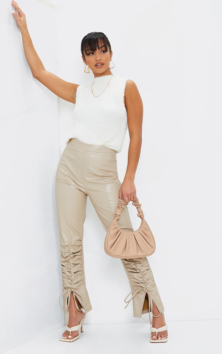 Petite Stone Ruched Hem PU Trousers 1