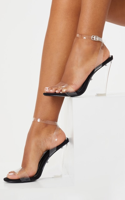 Black Clear Wedge Strappy Sandal