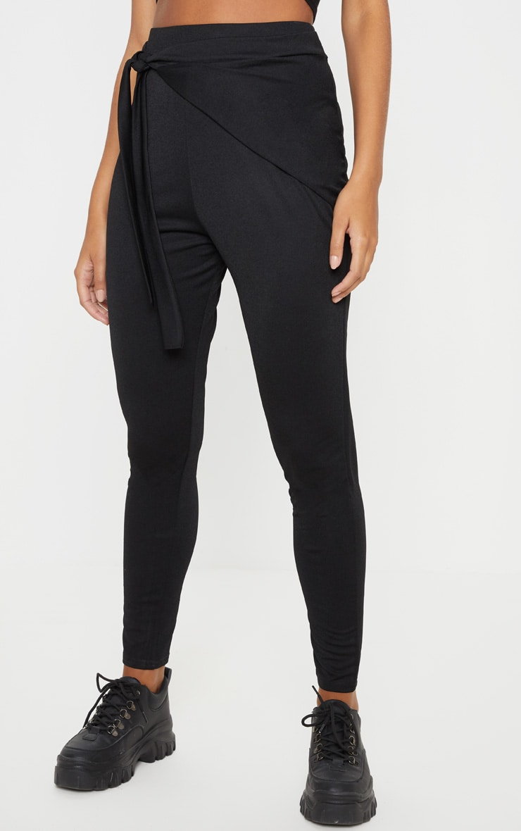 Black Wrap Front Skinny Trouser  2