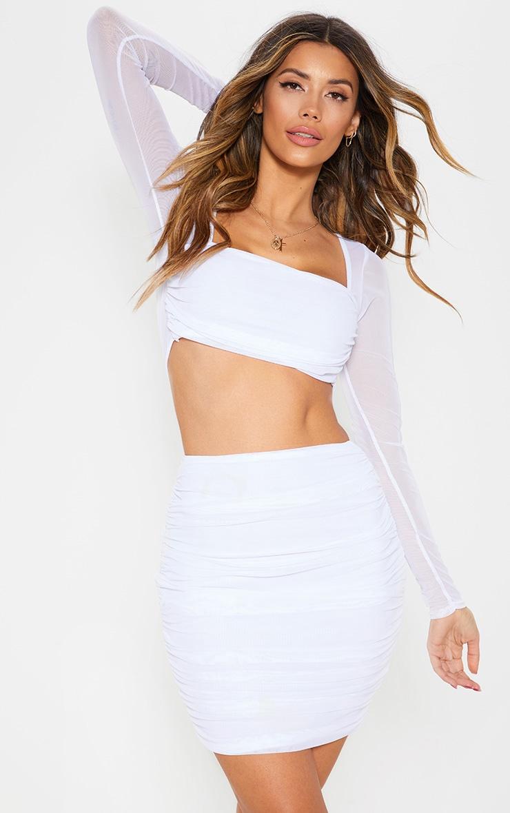 White Mesh Ruched Skirt 1