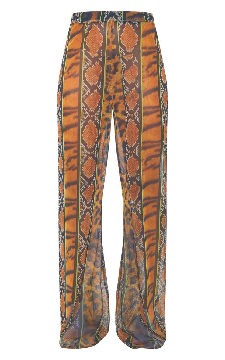 Orange Stripe Tiger Print Mesh Pants 4
