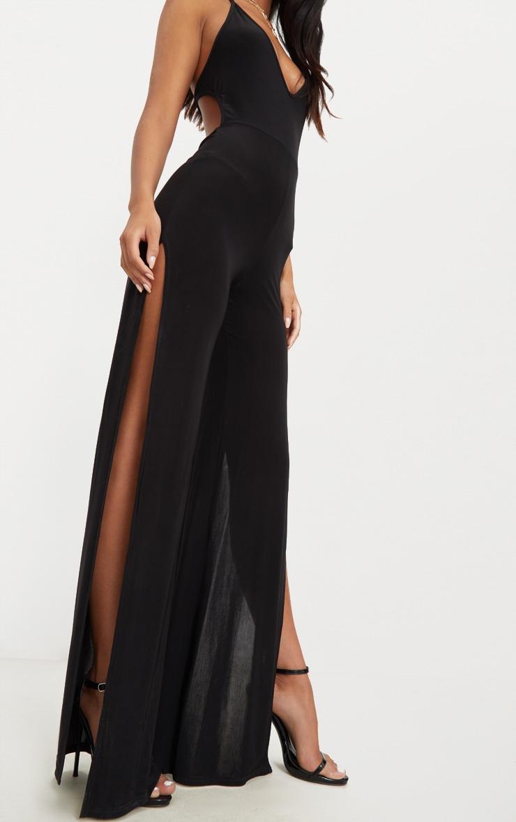 Black Slinky Side Split Jumpsuit 4