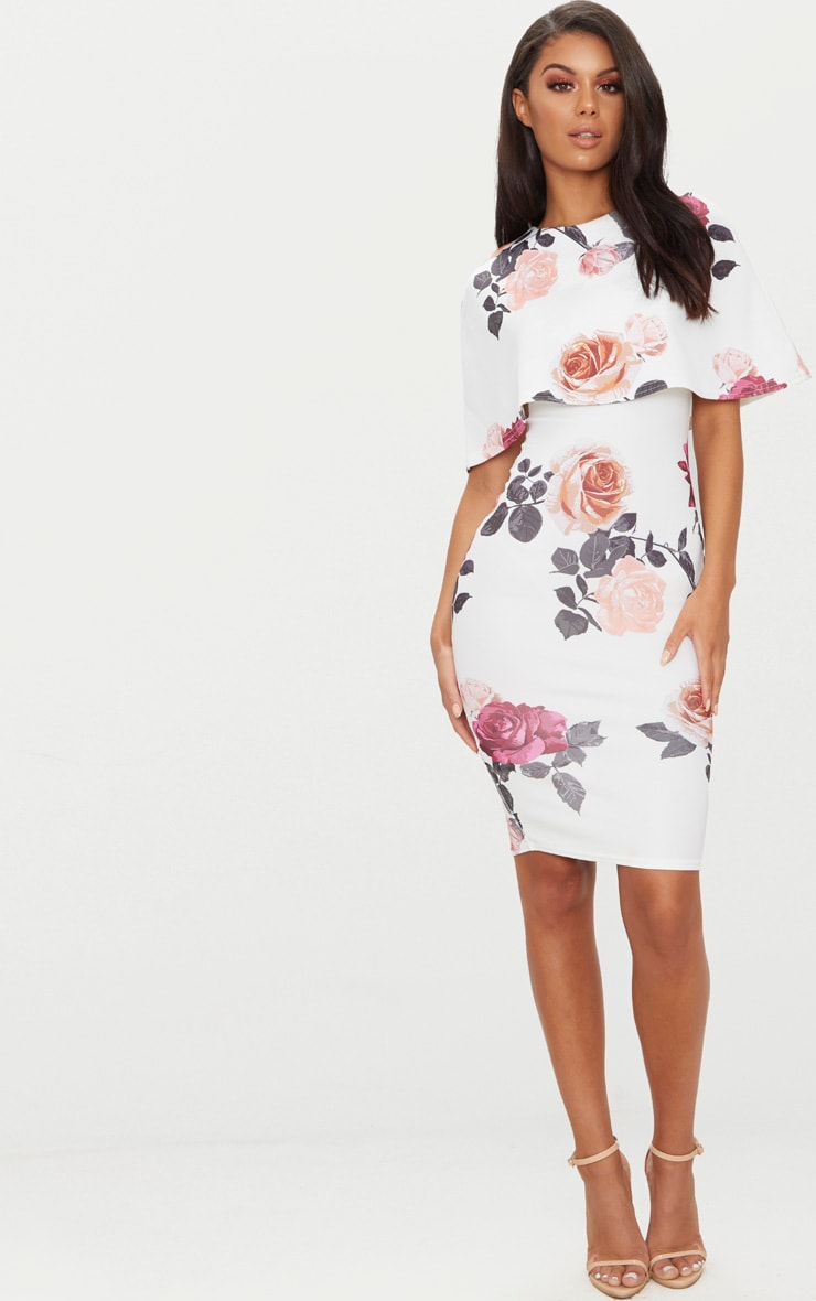 White Floral Print Cape Detail Midi Dress 4