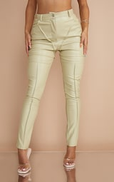 Pale Olive Faux Leather Contrast Panels Skinny Trousers 2