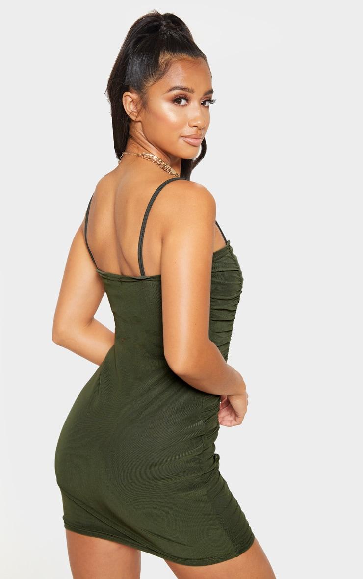 Petite Olive Khaki Strappy Ruched Front Mini Dress 2