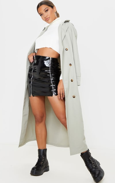 Black Vinyl Double Zip Mini Skirt